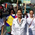 FILE - A photo shows 2018 Congressional candidate Deb Haaland, Democrat and a member of the San Felipe Pueblo with supporters at New Mexico State Fair in September 2017.
