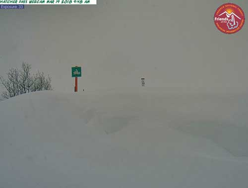 Hatcher Pass snowfall at 8-foot.