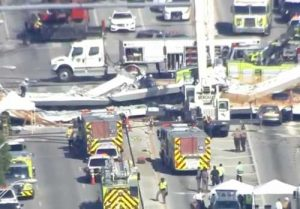 Scene of Miami bridge collapse. Screengrab