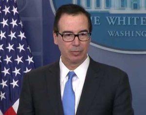 Treasury Secretary Steve Mnuchin at White House press conference. Image-White House