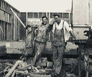 Bill, Bob & Ed Walker building houses in Old Valdez - 1963