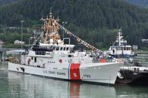 The Coast Guard Cutter Bailey Barco during the vessel's commissioning ceremony in Juneau, Alaska, June 14, 2017. Coast Guard photo by Petty Officer 1st Class Jon-Paul Rios.