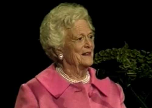 Former First Lady Barbara Bush. Image-VOA
