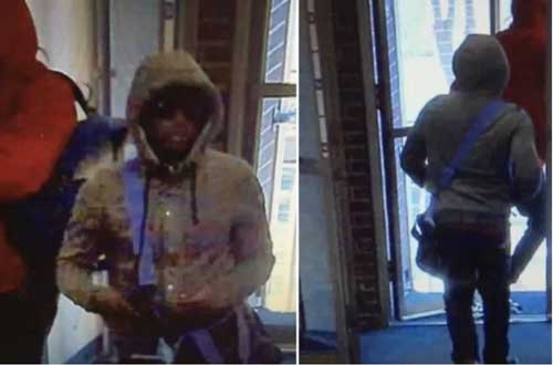 Surveillance image of Wells Fargo armed robbery. Image-APD
