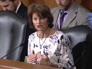 Senator Lisa Murkowski at HELP hearing. Image Office of Sen. Murkowski