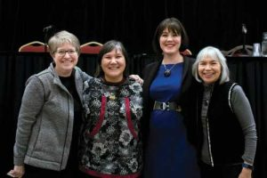 OCS Deputy Director Tracy Spartz Campbell, DHSS Commissioner Valerie Davidson, T&H General Counsel Madeline Soboleff Levy and T&H TFYS Director Francine Eddy Jones at Native Issues Forum on Compacting Child Welfare Services.