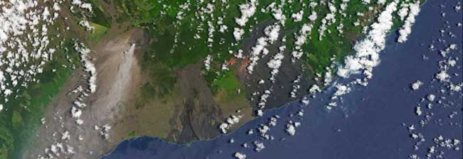 Aerial view of Kilauea plume and fissure lava flow. Image-NASA