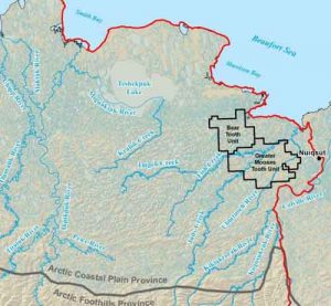 BLM map showing the location of the Greater Moose's Tooth unit on NPR.