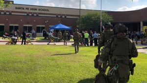 Law enforcement officers respond to Santa Fe High School following a shooting incident. Image-Harris County Sheriff office, Santa Fe, Texas