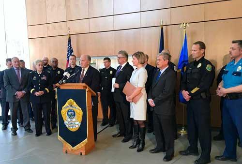 Governor Walker speaking on public safety improvements at Friday press conference. Image-State of Alaska