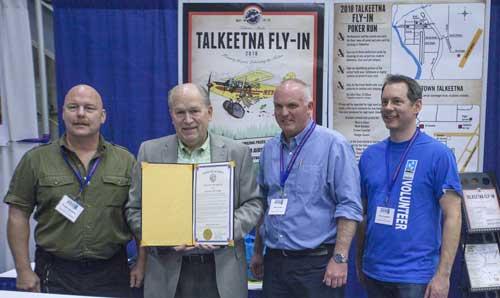 L-R Alaska Airmen Association Board Members, Doug Bradbury, Sven Lincke, and Kevin Campbell with Governor Walker. Image-State of Alaska