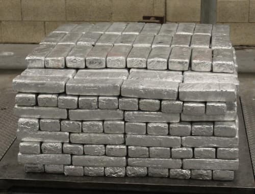 Packages containing 906 pounds of methamphetamine seized by CBP officers at Pharr-Reynosa International Bridge.