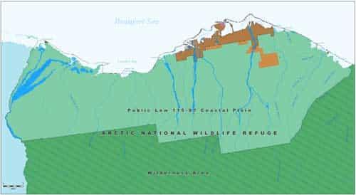 BLM map showing Coastal Plain on the North Slope of Alaska