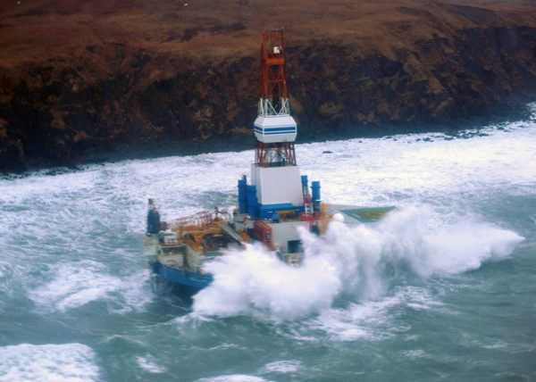 Kulluk grounded on Sitkilidak Island on Kodiak Island in January, 2013. Image-Coast Guard overflight