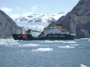 The United States Coast Guard Cutter Maple in front of LaConte Glacier. Image-USCG