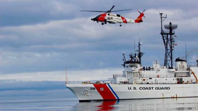 The crew of Coast Guard Cutter Alex Haley conducts helicopter operations in the North Pacific in support of Operation Arctic Shield 2015. (U.S. Coast Guard photo by Petty Officer 3rd Class Jesse Kristofferson)