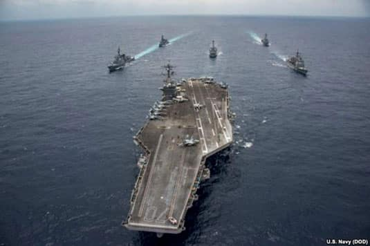 The Nimitz-class aircraft carrier USS Carl Vinson leads the Japan Maritime Self-Defense Force destroyers JS Ashigara, left front, and JS Samidare, left rear, the Arleigh Burke-class guided-missile destroyers USS Michael Murphy, center rear, and USS Wayne. Image-DoD