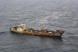 The fishing vessel Yin Yuan is sighted in the North Pacific Ocean May 22, 2014. The Yin Yuan crew is suspected of three serious fisheries violations including: use of prohibited fishing gear of more than 3.3 kilometers of high seas drift net, failure to maintain sufficient records of catch and catch-related data, and fishing without a license, permit or authorization issued by a sanctioned authority. (U.S. Coast Guard photo by Coast Guard Cutter Morgenthau)