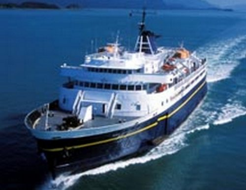 Alaska Marine Highway System ferry on scheduled run.Image-AMHS