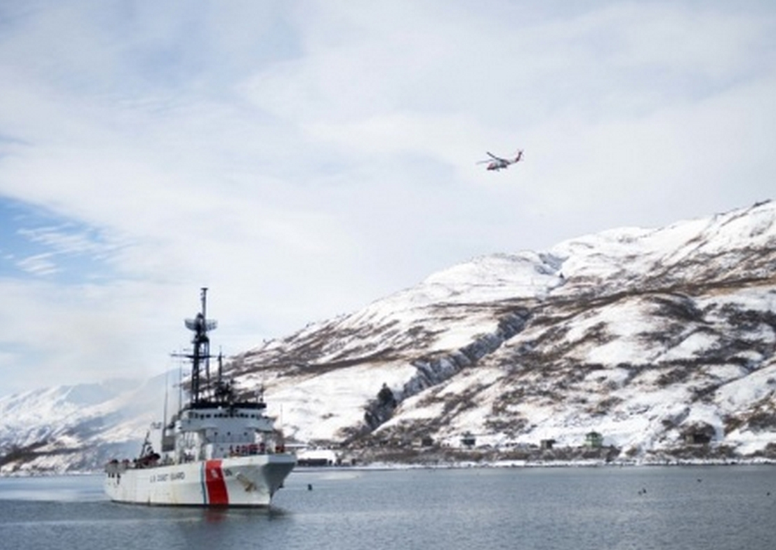 The crew of the Coast Guard Cutter Alex Haley makes its way to homeport in Kodiak, Alaska, Feb. 8, 2015. (U.S. Coast Guard photo by Petty Officer 2nd Class Diana Honings)