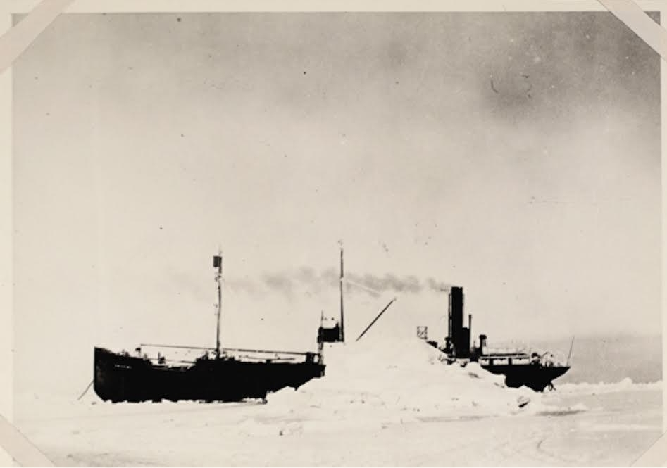 The S.S. Baychimo just after it became trapped in sea ice north of Alaska in October, 1931. Photo from Alaska and Polar Regions Collections & Archives at the Elmer E. Rasmuson Library, UAF.