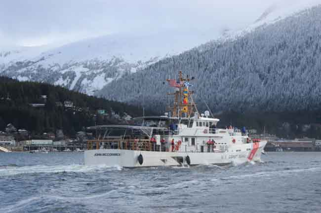 The Coast Guard Cutter John McCormick (WPC-1121) and crew make way to their home port at Coast Guard Base Ketchikan. Image-Petty Officer 1st Class William Colclough | USCG