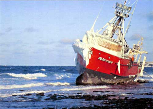 The fishing vessel Mar-Gun grounded on St. George in 2009. Image-USCG/MST2 Gerald Holle