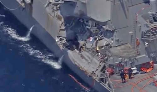 Damage is visible on the guided-missile destroyer USS John S. McCain. Image-Youtube
