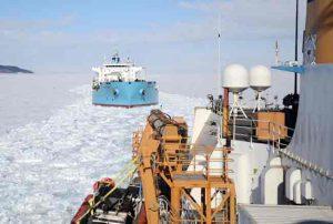 The USCGC Polar Star escorts a tanker through the sea ice of McMurdo Sound. Credit: U.S. Coast Guard