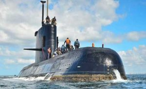This undated photo provided by the Argentine Navy shows an ARA San Juan, a German-built diesel-electric submarine, near Buenos Aires, Argentina.