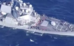 The USS Fitzgerald suffered extensive damage after colliding with a Philippine=flagged merchant ship Friday. Image-USNI