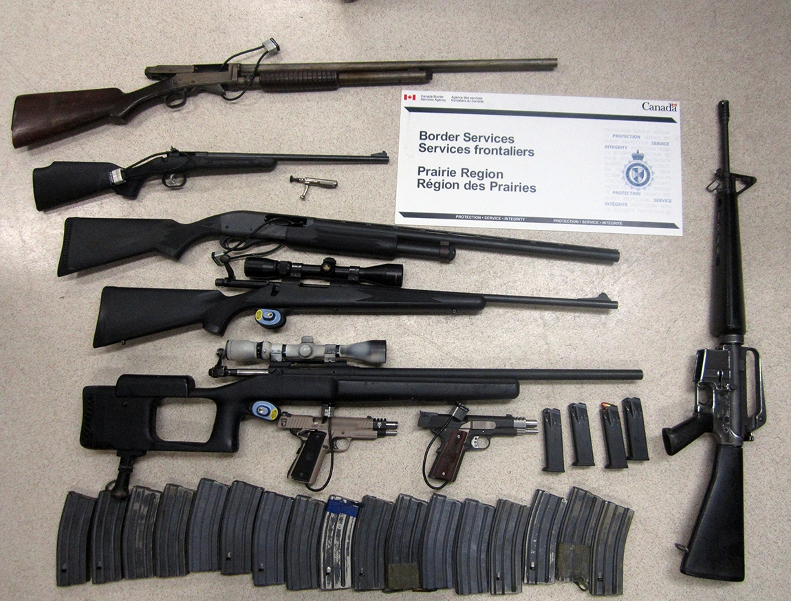 Eight firearms seized from an Alaska-bound traveller at the North Portal, Saskatchewan border crossing on August 22, 2015.