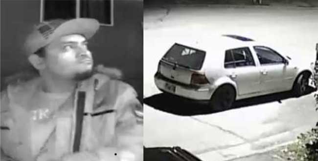 Images of one suspect and vehicle involved in assault incident at a Snow Circle address on Saturday night. Images-APD