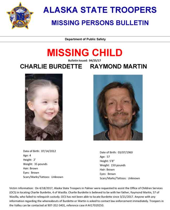 Missing Persons Bulletin for Charlie Burdette and her father Raymond Martin. Image-AST
