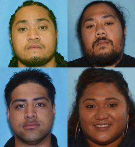 APD is seeking the whereabouts of Faamanu Vaifanua(top left), Macauther Vaifanua(top right), Rex Faumui(bottom left) and Tamole Lauina.(bottom right). Image-APD
