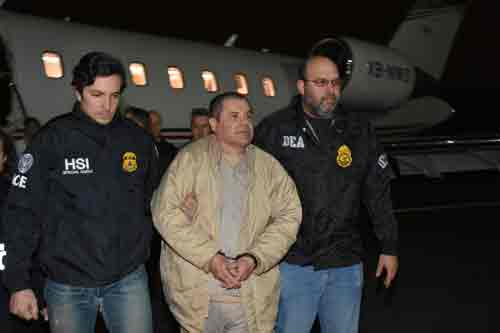 "Mexico's top drug lord, Joaquin ""El Chapo"" Guzman arriving at Long Island MacArthur Airport in New York after his extradition. Image-Reuters"