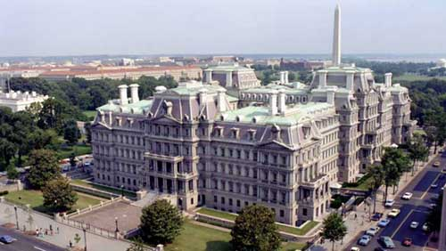 Originally built for the State, War and Navy Departments between 1871 and 1888, the Eisenhower Executive Office Building now houses a majority of offices for White House staff.