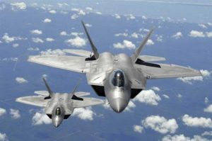 Two Air Force F-22 Raptor aircraft. (Department of Defense photo/Senior Master Sgt. Thomas Meneguin)