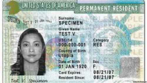 US Green Card sample. Image-Wikipedia Commons