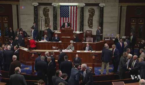 House vote on tax bill. Image-VOA