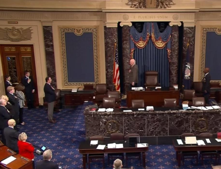 Senate reciting the Pledge of Allegiance prior to Senate Session on Saturday.
