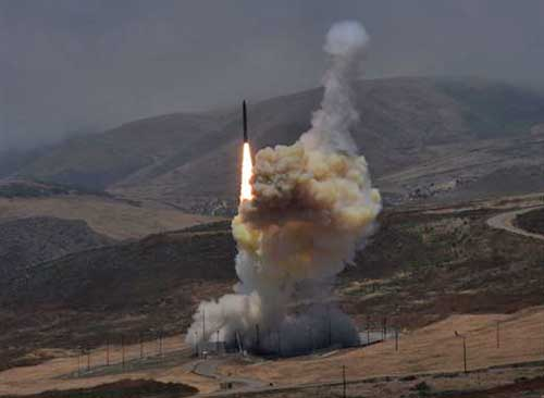 A long-range ground-based interceptor is launched from Vandenberg Air Force Base, Calif., May 30, 2017. Missile Defense Agency photo