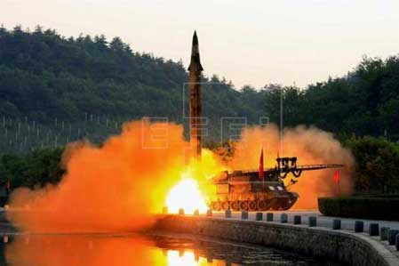 (FILE) An undated photo made available by the North Korean Central News Agency (KCNA), the state news agency of North Korea, shows the test-fire of a ballistic rocket equipped with precision guidance system, at an undisclosed location in North Korea (reissued Jun. 8, 2017). KCNA