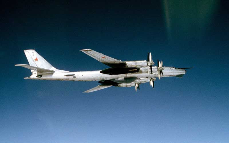 Russian TU-95 Strategic Bomber in flight. Image-DoD