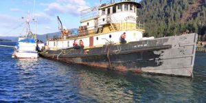 Oil and hazmat removal operations began earlier this year on the tug Lumberman. Image-NOAA