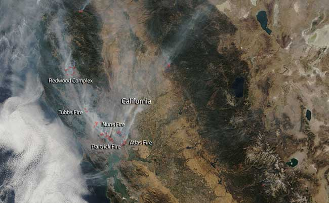 Wildfires continue to rage in California. Image-NASA