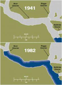 Retreat of Muir Glacier from 1941 to 1982. Image-NASA/Goddard Space Flight Center