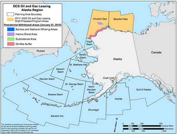 President Obama withheld 98% of the Beaufort and Chukchi Seas from future oil and gas leases, the area encompasses 115 million acres. The areas are being proposed as leases under the Trump administration. Image-BEOM