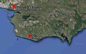 Location of Nome in relation to Brevig Mission. Image-Google Maps