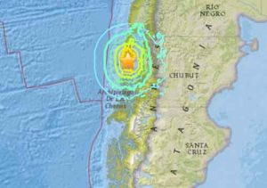 A 7.6 magnitude earthquake hit southern Chile on Sunday. Image-USGS